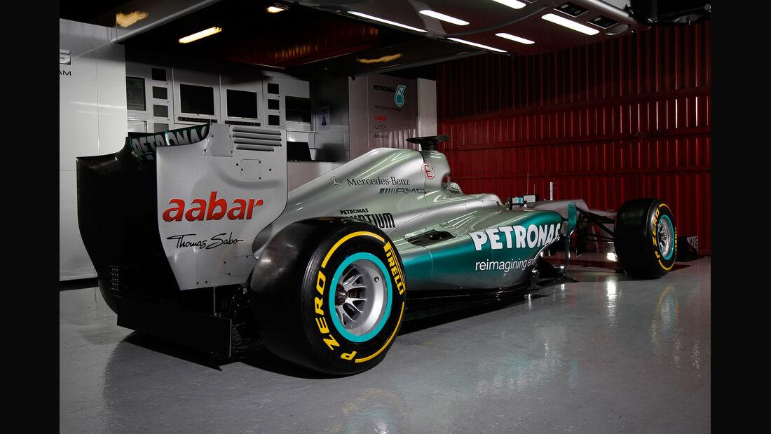 Mercedes F1 W03 Garage Test Barcelona 2012
