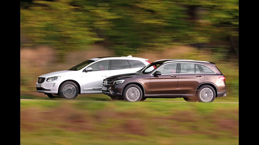 Mercedes GLC 250 d 4Matic, Volvo XC60 D5 AWD, Seitenansicht
