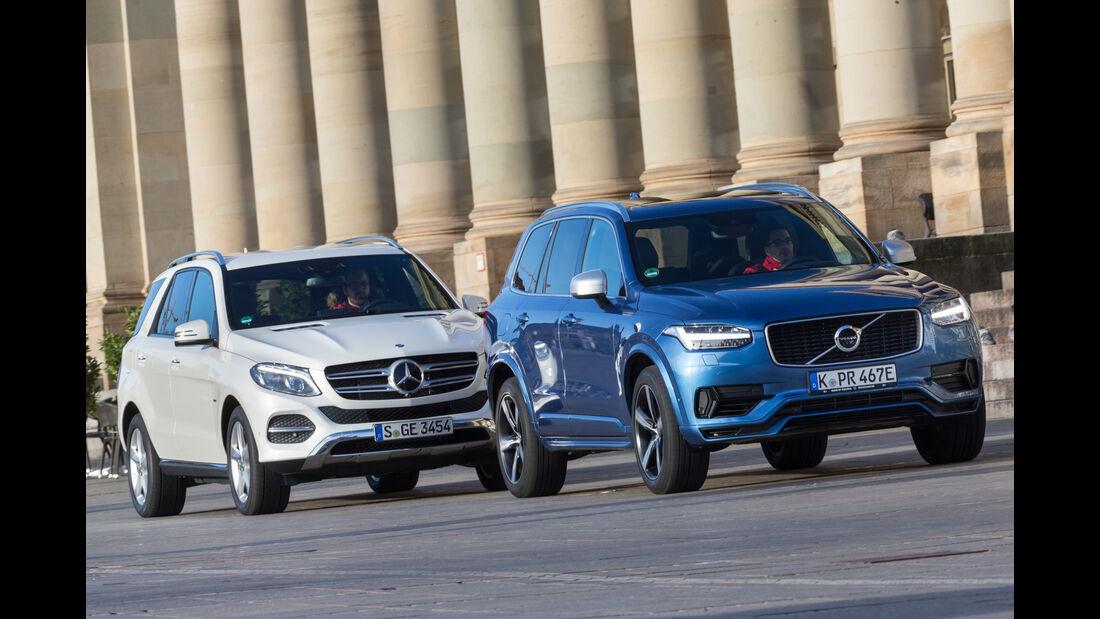 Mercedes GLE 500e, Volvo XC90 T8, Frontansicht