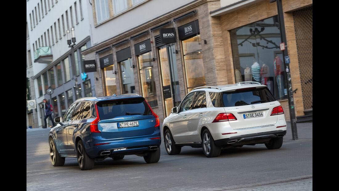 Mercedes GLE 500e, Volvo XC90 T8, Heckansicht