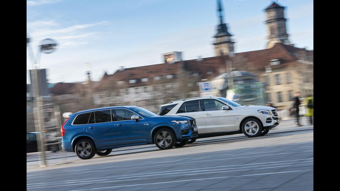 Mercedes GLE 500e, Volvo XC90 T8, Seitenansicht