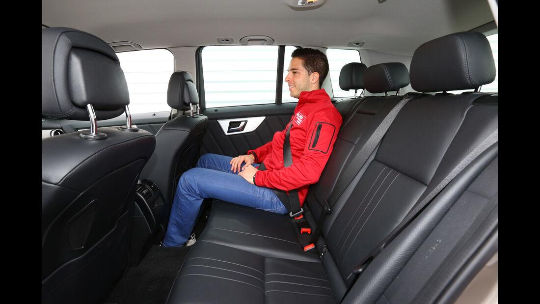 Mercedes GLK 200 CDI, Rücksitz, Beinfreiheit