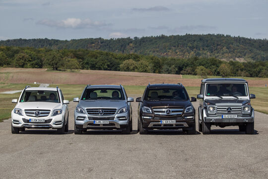 Mercedes GLK, Mercedes ML, Mercedes GL, Mercedes G, Frontansicht