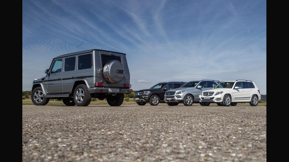 Mercedes GLK, Mercedes ML, Mercedes GL, Mercedes G, Gruppenbild