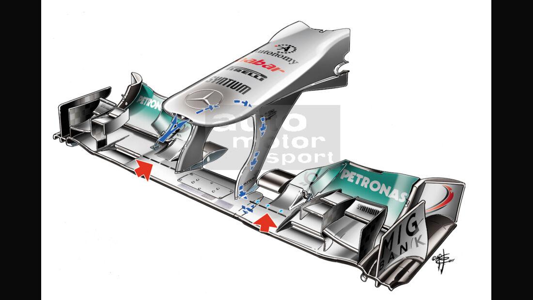 Mercedes GP Frontflügel F-Schacht 2011 Piola-Zeichnung