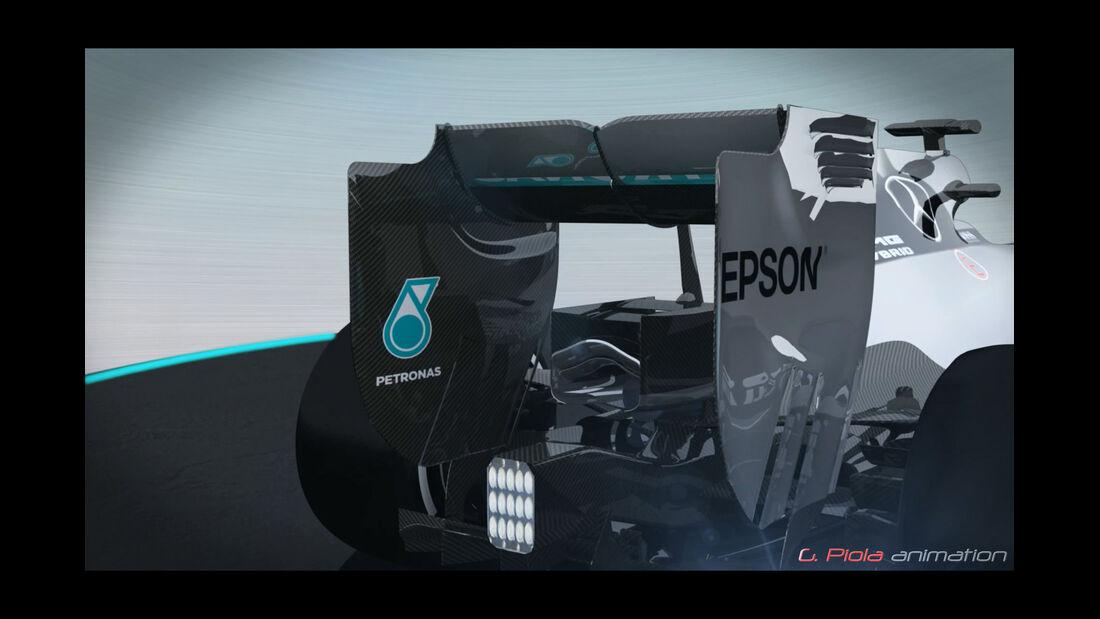 Mercedes - Piola - Heckflügel - Animation - Formel 1 - 2015