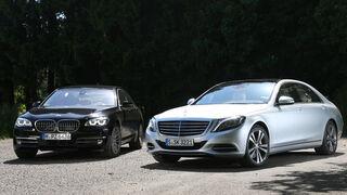 Mercedes S 500 lang, BMW 750Li, Frontansicht
