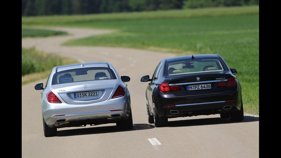 Mercedes S 500 lang, BMW 750Li, Heckansicht