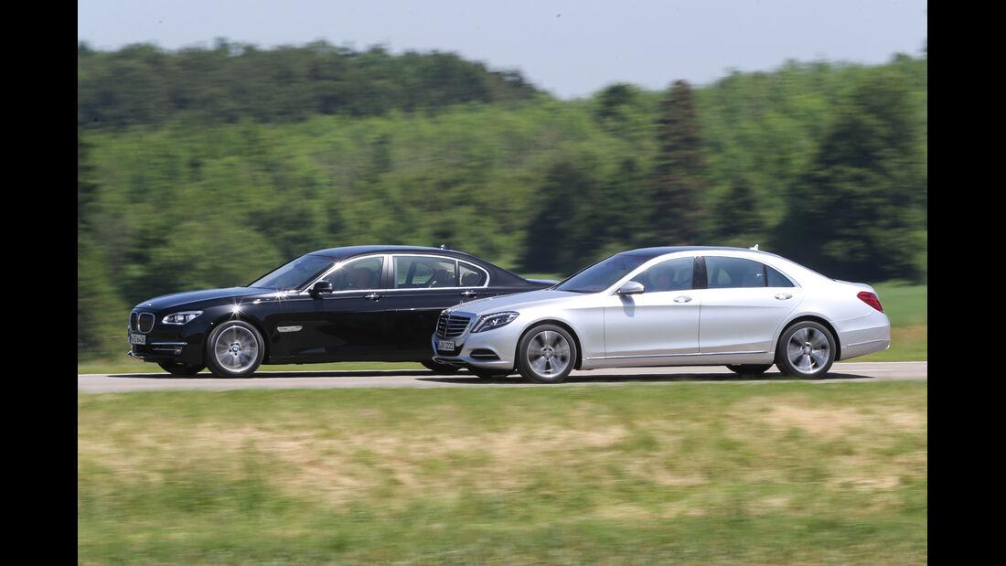 Mercedes S 500 lang, BMW 750Li, Seitenansicht