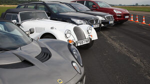 Mercedes S 600 L, BMW M5 Touring, Lotus Elise SC, Morgan Roadster V6, Porsche Cayenne Turbo S