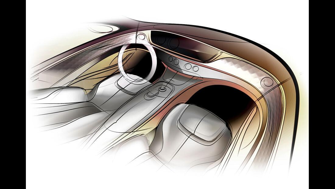 Mercedes S-Klasse Interieur, Designzeichnung