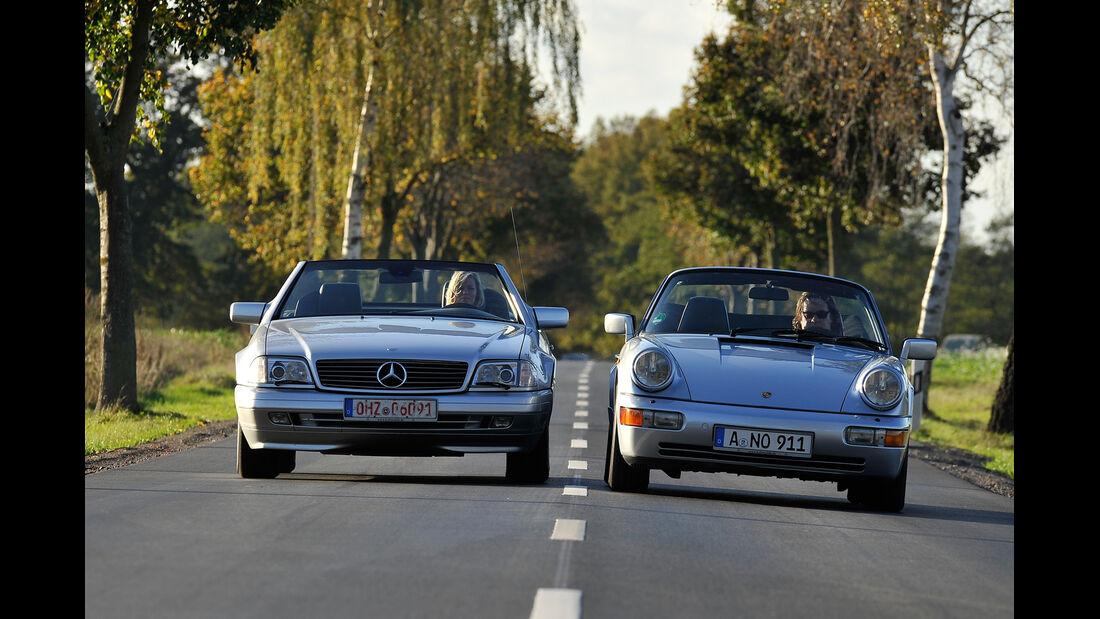 Mercedes SL 280, Porsche 964 Carrera 2 Cabrio, Frontansicht