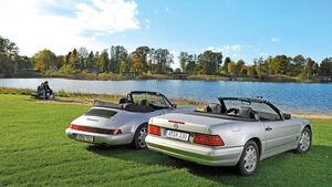 Mercedes SL 280, Porsche 964 Carrera 2 Cabrio, Heckansicht