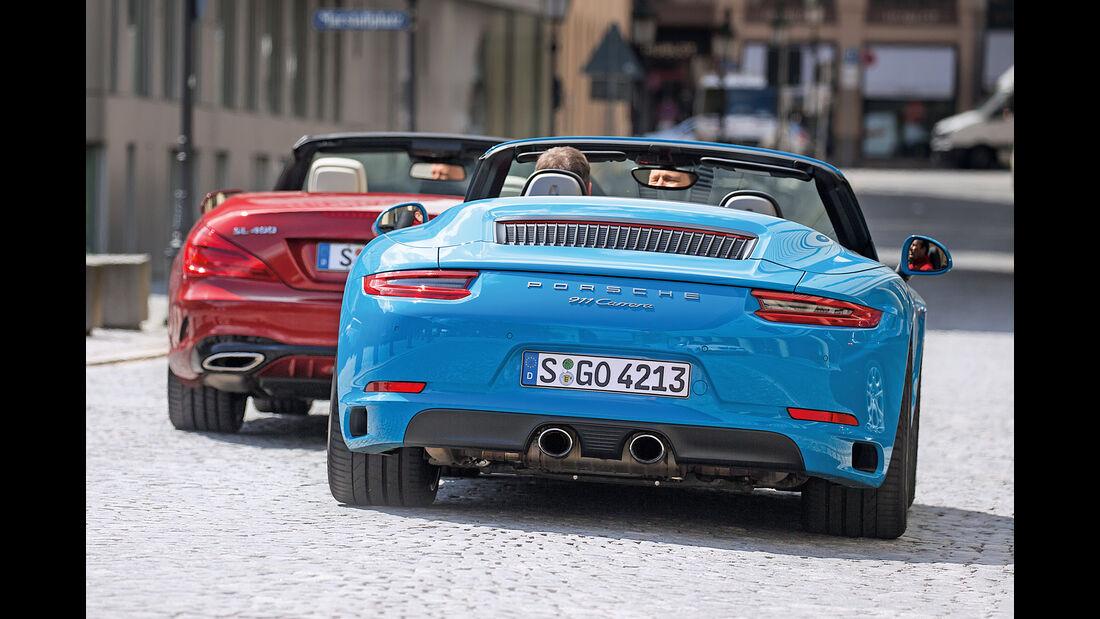Mercedes SL 400, Porsche 911 Carrera Cabriolet, Heckansicht