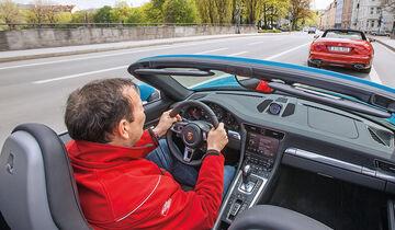 Mercedes SL 400, Porsche 911 Carrera Cabriolet, Impression