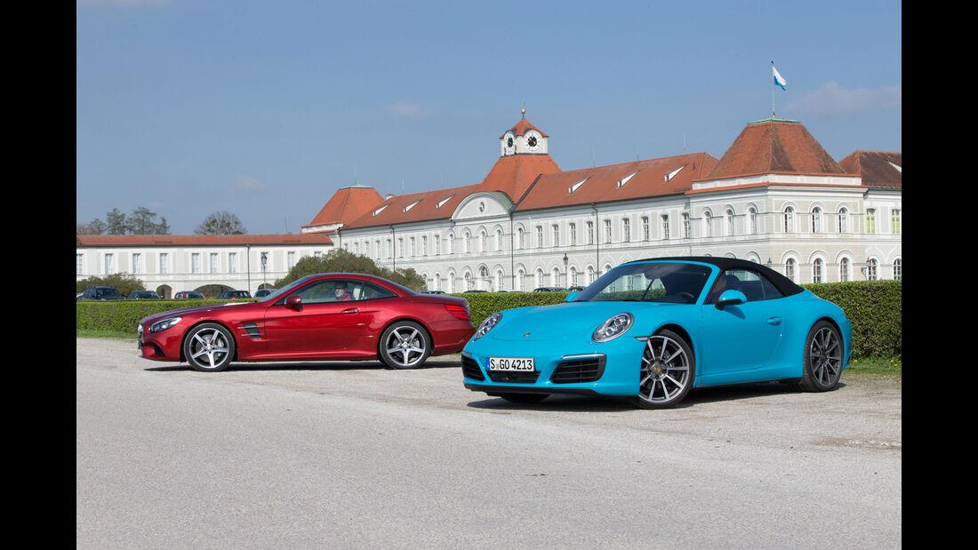 Mercedes SL 400, Porsche 911 Carrera Cabriolet, Seitenansicht