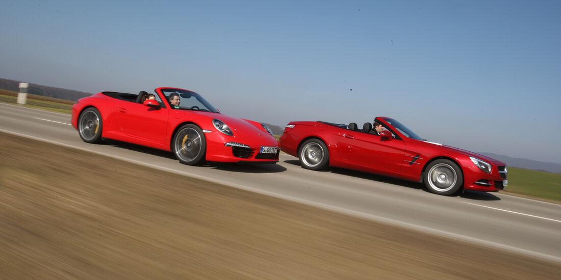 Mercedes SL 500, Porsche 911 Carrera S Cabrio, Seitenansicht