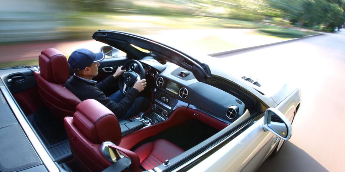 Mercedes SL 500, von oben, Innenraum