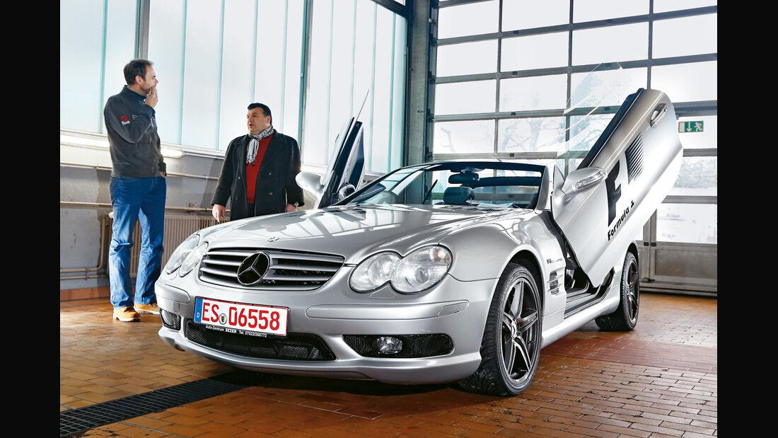 Mercedes SL 55 AMG, Frontansicht, Werkstatt
