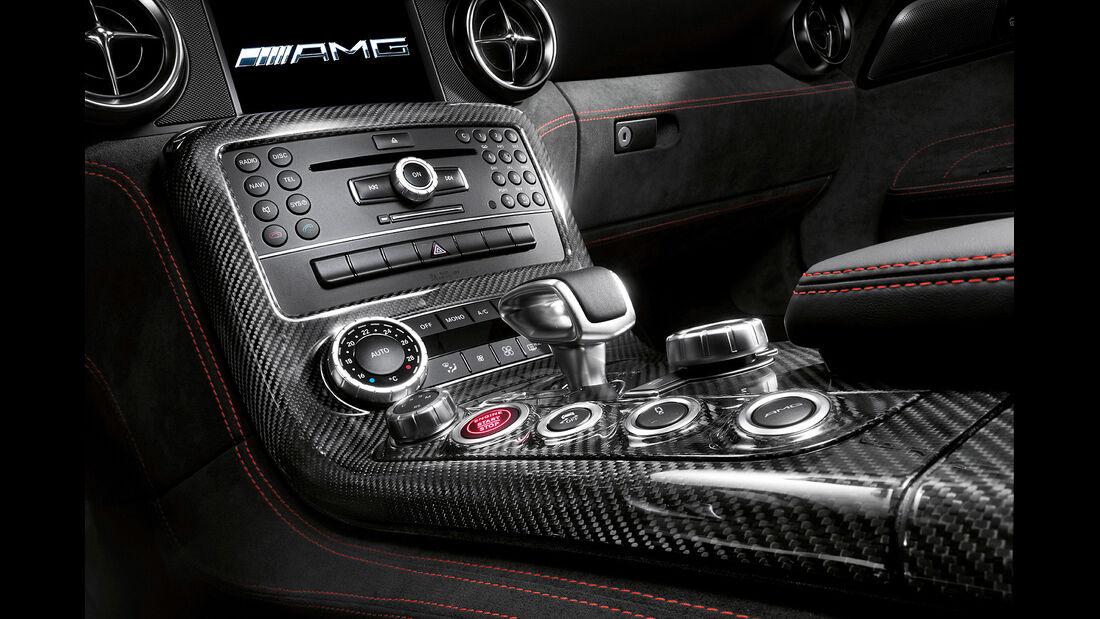 Mercedes SLS AMG Black Series, Innenraum, Mittelkonsole, Schalthebel