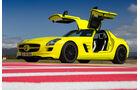 Mercedes SLS AMG E-Cell, Seitenansicht, Flügeltüren