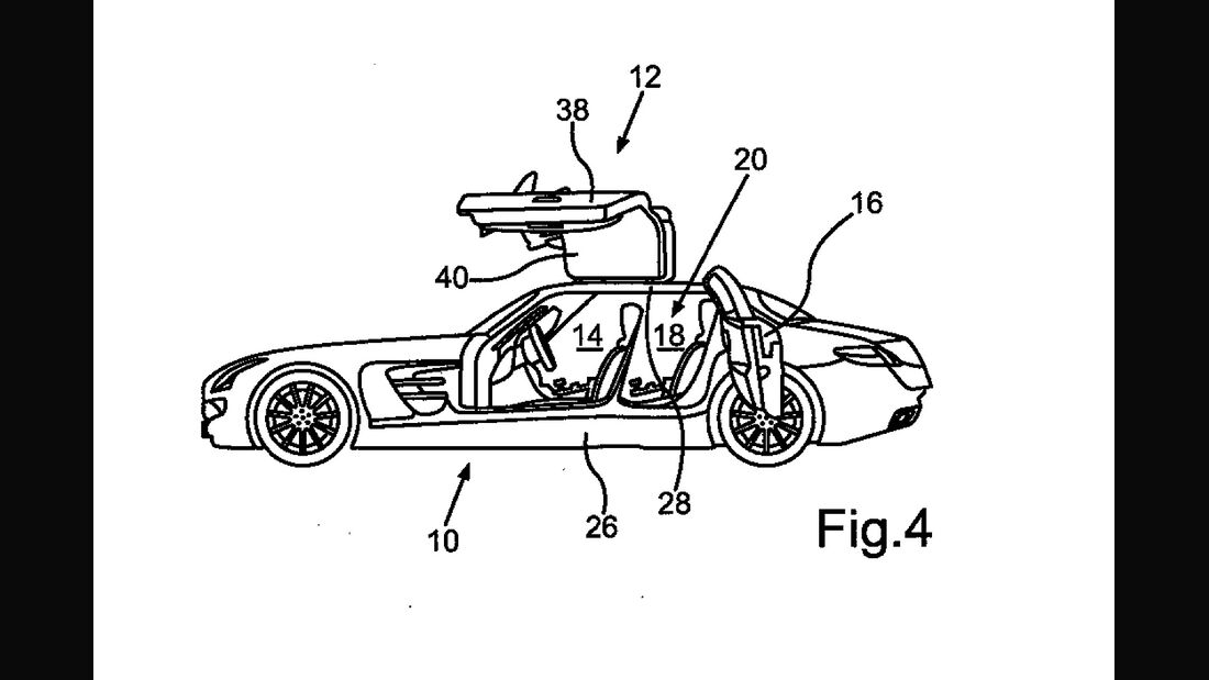 Mercedes SLS AMG Flügeltürer Viertürer Patentamt