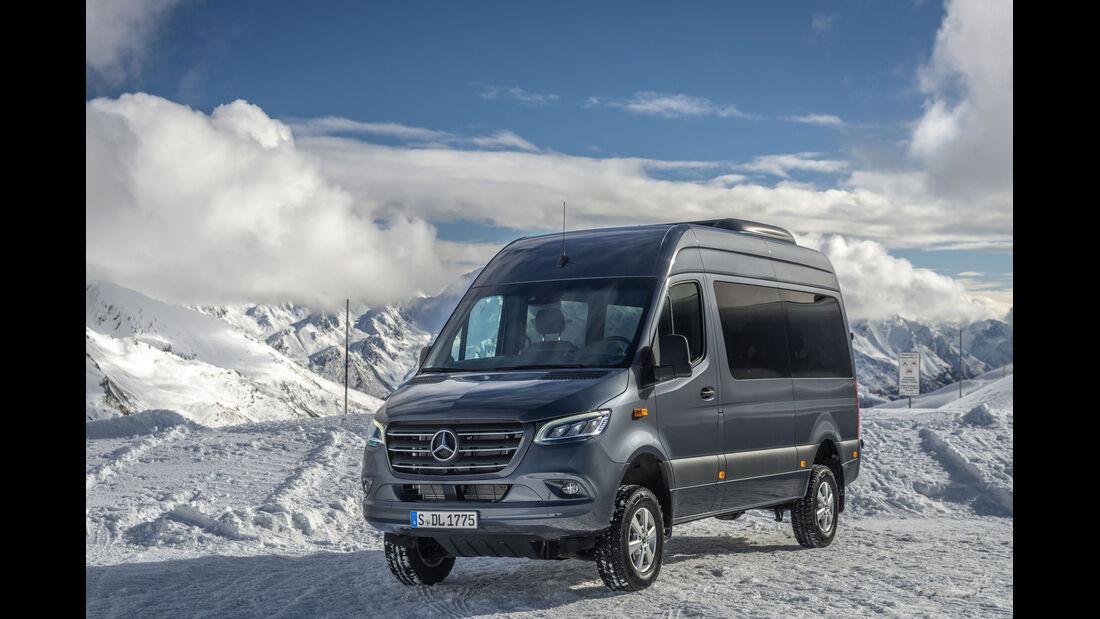 Mercedes Sprinter 319 CDI 4x4 Modelljahr 2019 Wintertest