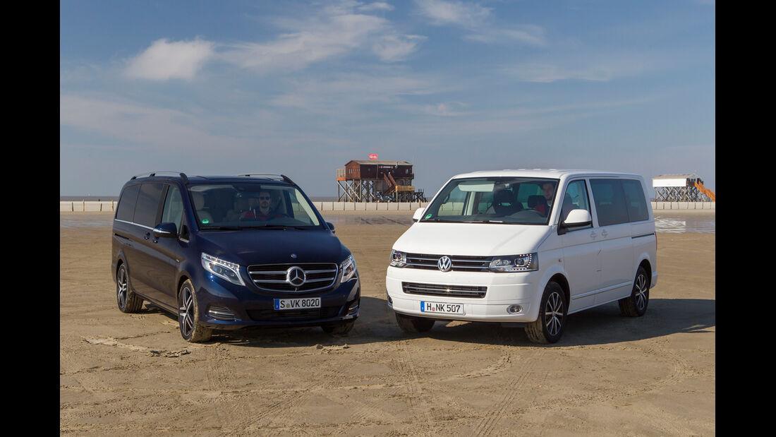 Mercedes V 250 Bluetec, VW Multivan 2.0 BiTDI, Frontansicht