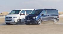 Mercedes V 250 Bluetec, VW Multivan 2.0 BiTDI, Seitenansicht