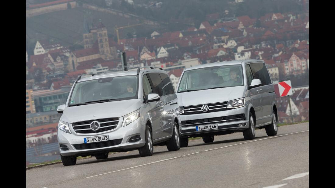 Mercedes V 250 d 4Matic lang, VW Multivan 2.0 TDI 4Motion, Frontansicht