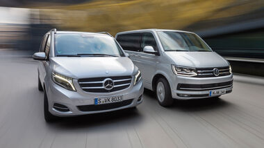 Mercedes V 250 d 4Matic lang, VW Multivan 2.0 TDI 4Motion, Frontansicht