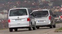 Mercedes V 250 d 4Matic lang, VW Multivan 2.0 TDI 4Motion, Heckansicht
