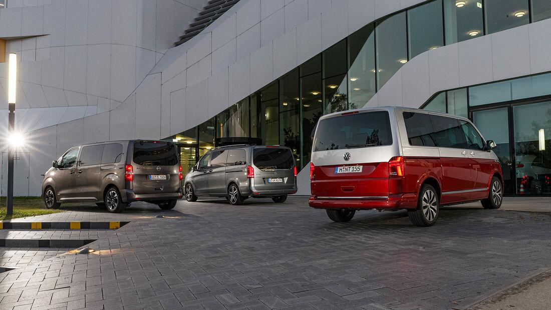 Mercedes V 300 d LANG, Opel Zafira Life M 2.0 D, VW T6.1 Multivan 2.0 TDI, Exterieur