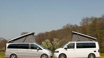 Mercedes Viano Marco Polo, VW T5 California, beide Fahrzeuge, Aufstelldach, Seitenansicht