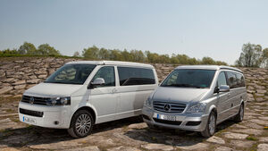 Mercedes Viano Marco Polo, VW T5 California, beide Fahrzeuge, Frontansicht