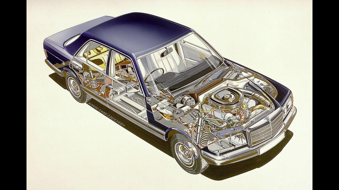 Mercedes W126 Schnittzeichnung
