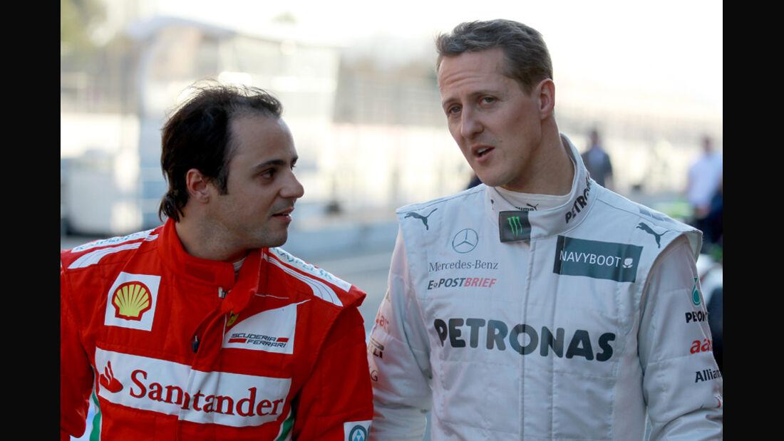 Michael Schumacher & Felipe Massa - F1-Test - Barcelona 2012