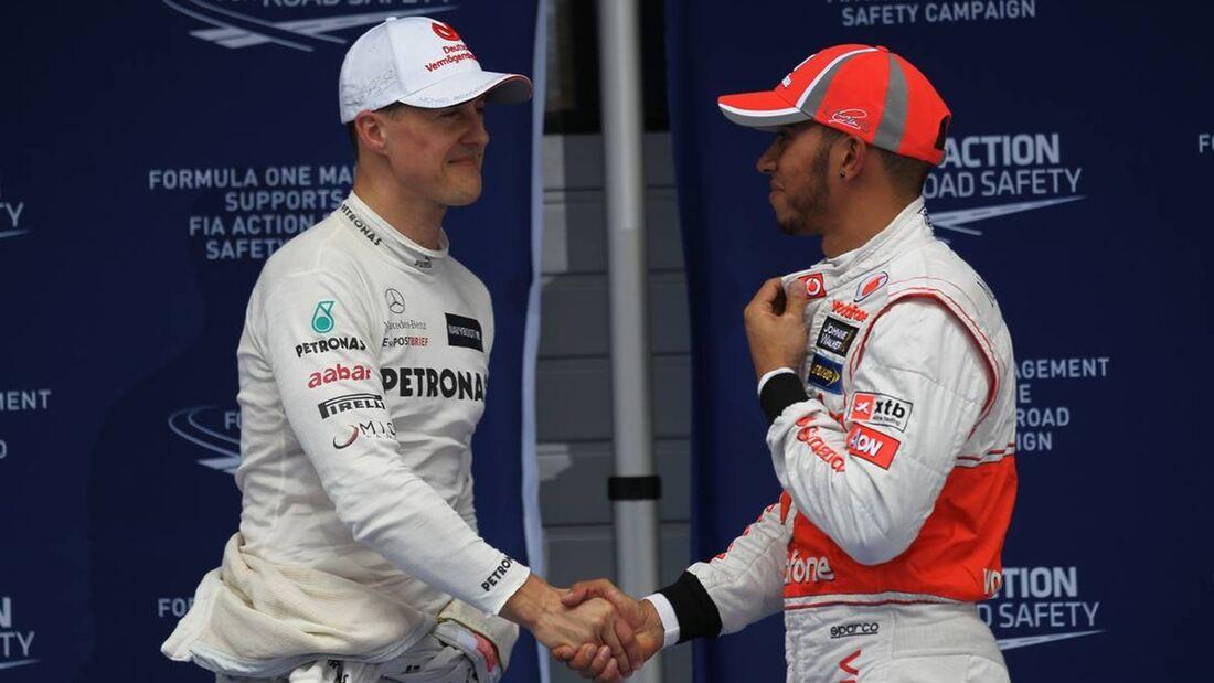 Michael Schumacher Lewis Hamilton  - Formel 1 - GP China - 14. April 2012