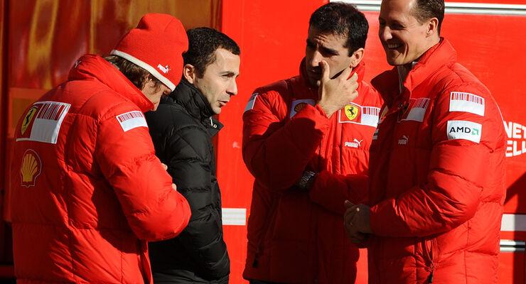 Michael Schumacher und die Ferrari-Testfahrer