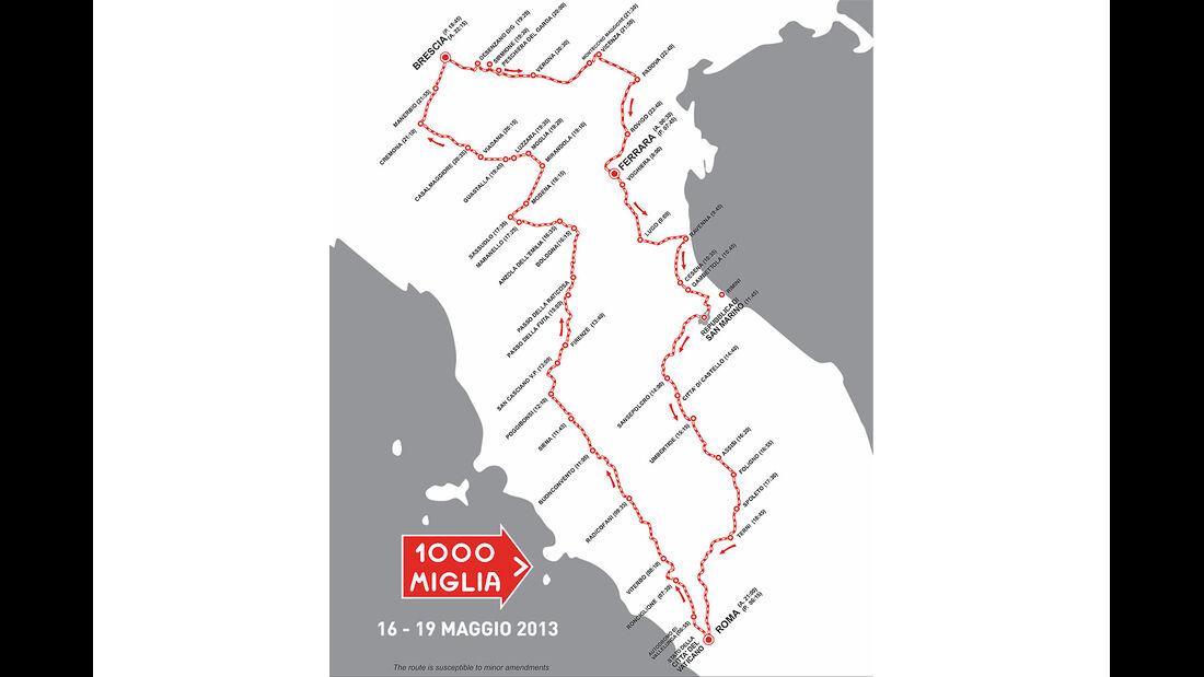 Mille Miglia - Streckenkarte