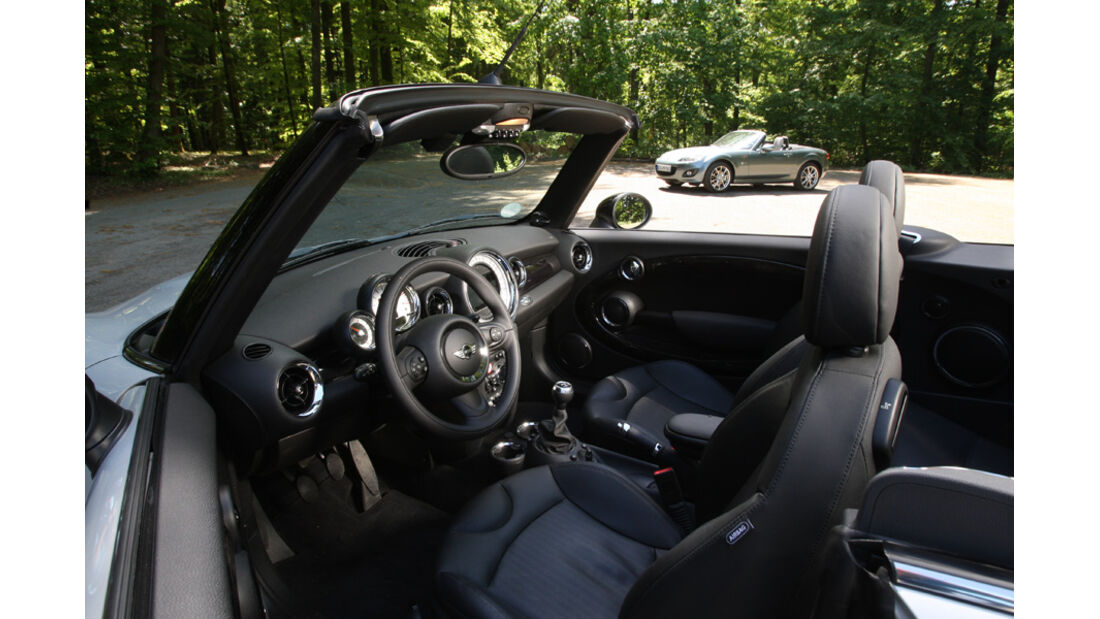 Mini Cooper Cabrio, Detail, Cockpit, Lenkrad, offen