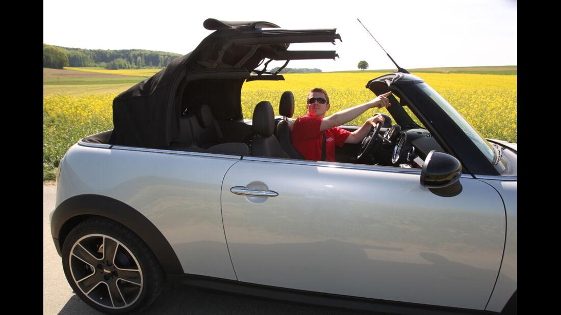Mini Cooper Cabrio, Seitenansicht, Detail, öffnendes Dach