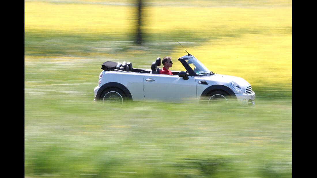 Mini Cooper Cabrio, Seitenansicht, offen, Wiese