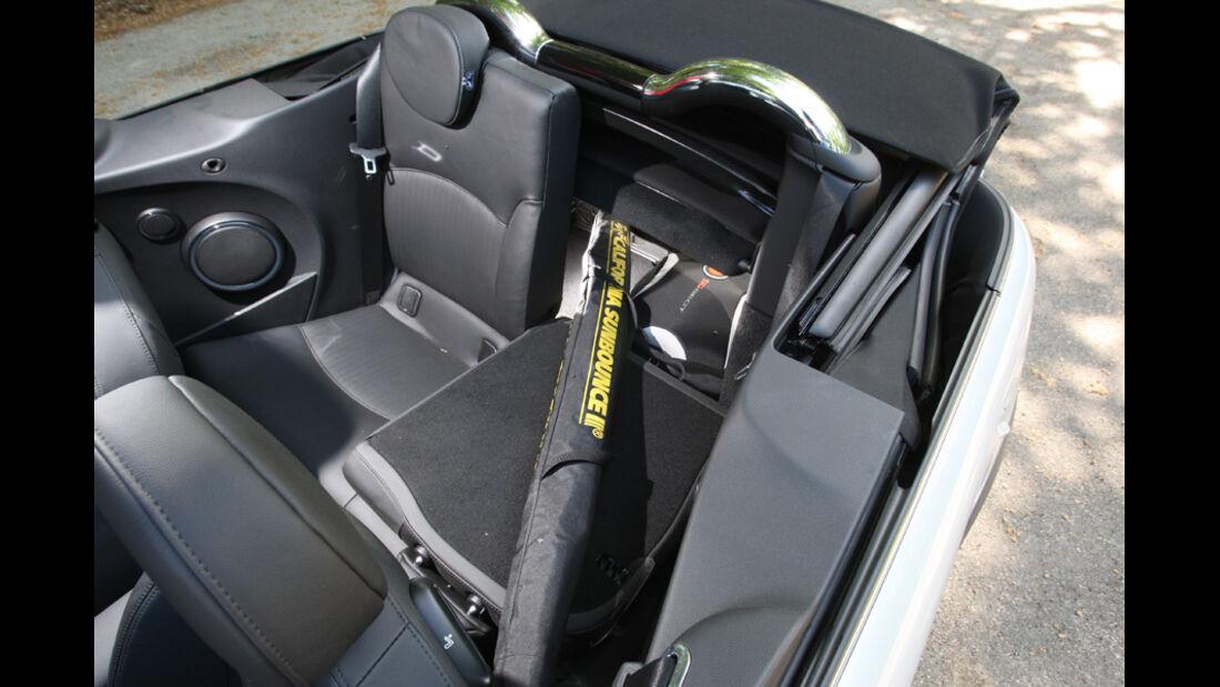 Mini Cooper Cabrio, Sitz umgeklappt, Stauraum