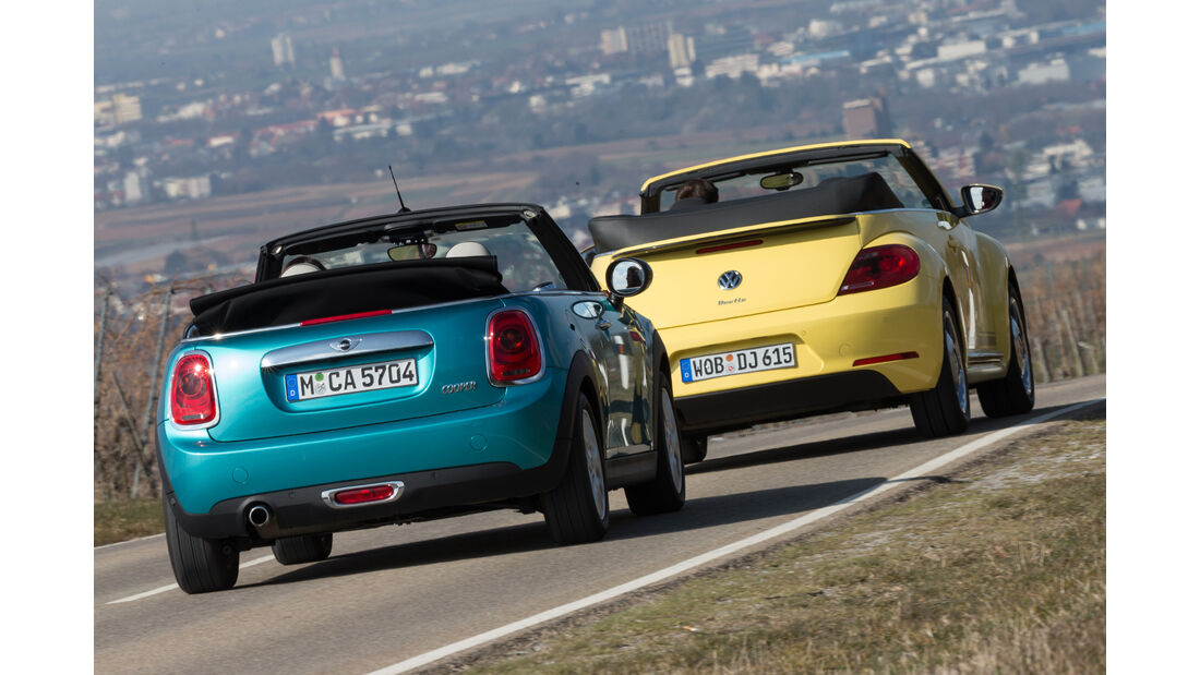 Mini Cooper Cabrio, VW Beetle Cabrio 1.4 TSI, Heckansicht