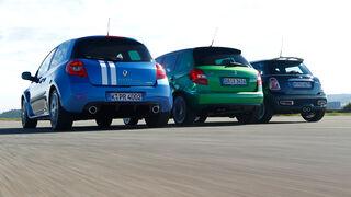 Mini Cooper S und Renault Clio Gordini R.S. gegen Skoda Fabia RS