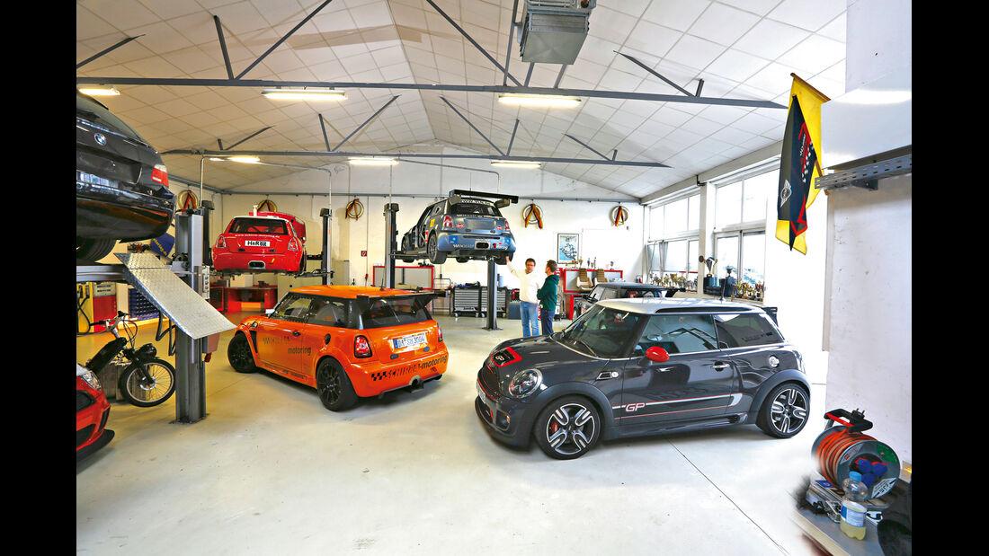Mini JCW GP, Schirra- Mini JCW GTS, Schirra-Mini, Werkstatt