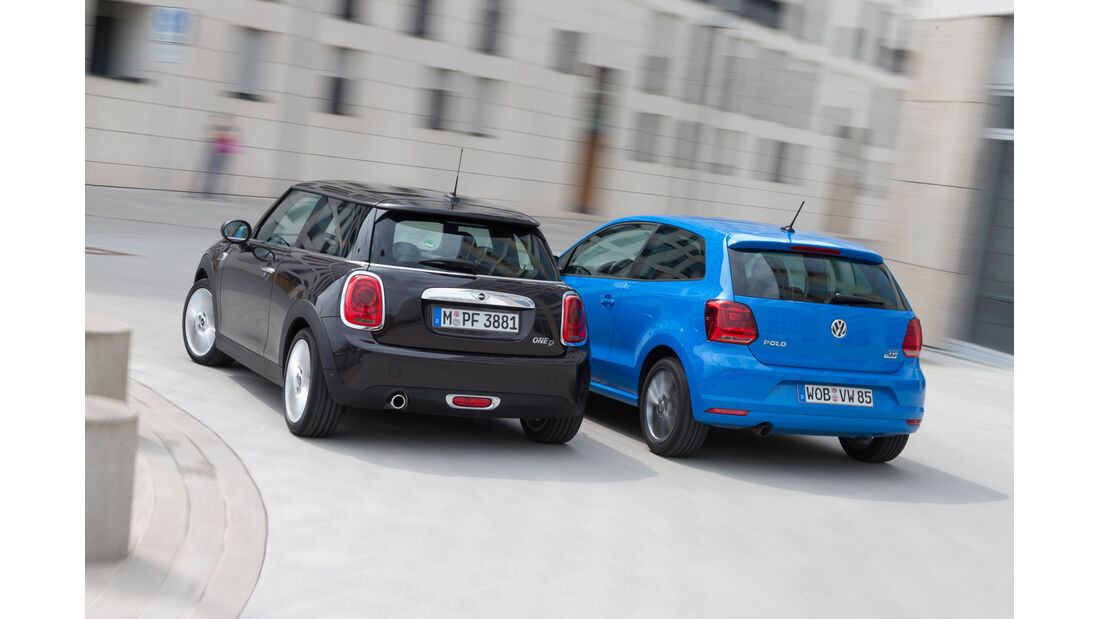 Mini One D, VW Polo 1.4 TDI Blue Motion, Heckansicht