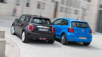 Mini One D, VW Polo 1.4 TDI Blue Motion, Heckansicht