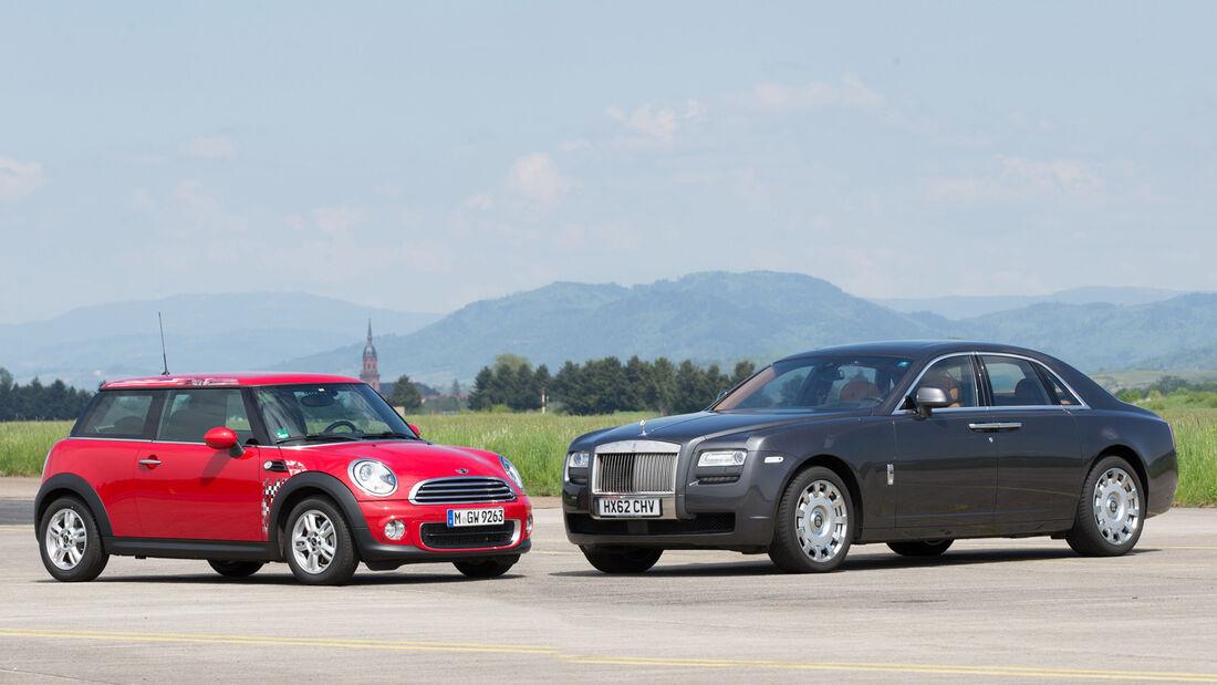 Mini One, Rolls-Royce Ghost, Seitenansicht